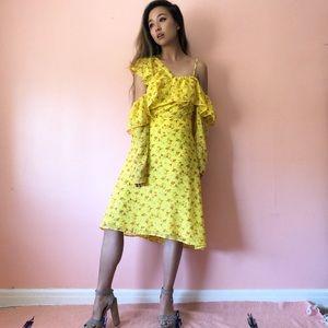 ASOS Yellow Floral Ruffle Midi Dress